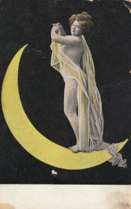 Nude Woman standing on sliver of moon holding a long transparent scarf, 1900-10s