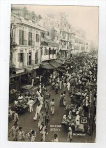 112  India Bombay 1960´s  BAZAR Stores, Street Vendors RPPC   Air Mail Stamps