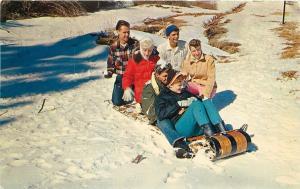 California~Family Tobogganing In The San Bernardino Mountains~1960s Postcard