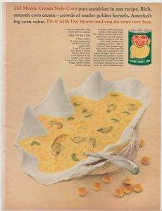 Del Monte Cream Style Corn in a Seashell 1965 Print Ad, Sunshine in Every Recipe