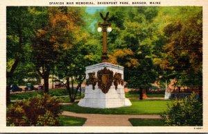 Maine Bangor Davenport Park Spanish War Memorial