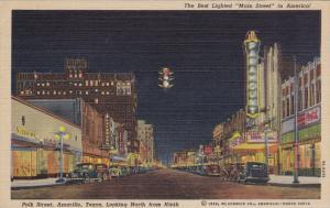 Polk Street at night , AMARILLO , Texas , 30-40s