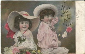 Vintage Postcard Little boy and little girl Holding flowers I Love The For Ever