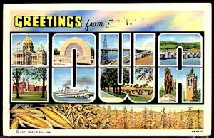 USA Postcard Large Letter Greetings From Iowa CDS 1940
