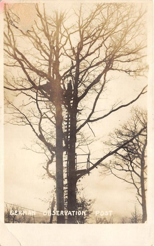 WWI~German Observation Post~Soldier Standing in Tree~Military RPPC-Postcard