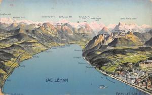 Évian-les-Bains France~Lac Leman~Topographical Mountains Map Postcard~1907 PC
