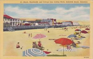Beach Boardwalk And Cottage Line Looking North Rehoboth Beach Delaware 1954