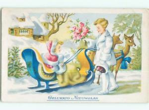 foreign Old Postcard DEER PULLING GIRL IN SLED AT NEW YEAR AC3566