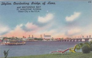 Skyline Overlooking Bridge Of Lions And Matanzas Bay, Saint Agustine, Florida...
