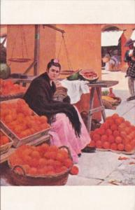 Orange Seller In Sevilla Market