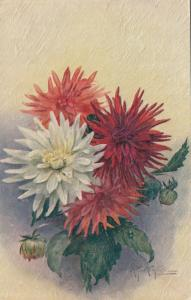 TUCK 3134 ; Flower Studies , A. F. Arlington ; Red & White Flowers , 1920