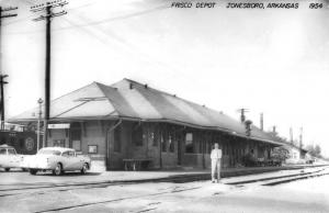 Jonesboro Arkansas Frisco Railroad Depot Real Photo Vintage Postcard K98196