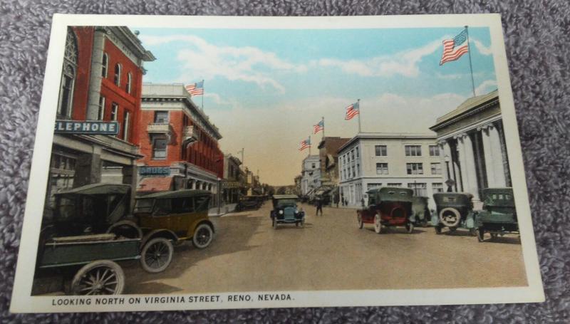 Postcard NV Reno Nevada Looking North on Virgina Street old