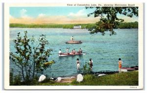 Mid-1900s View of Canadohta Lake and Marcresan Beach, PA Postcard