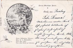 Gruss Aus Bamberg , Germany , PU-1899 ; Woman waving fan