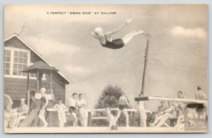 Hancock NY 1943~The Perfect Swan Dive Caught Midair at Hilltop (Camp?) B&W