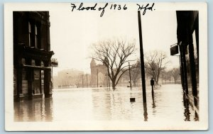 Postcard CT Hartford 1936 Flood Real Photo RPPC Frank Palmer Drug Store T10