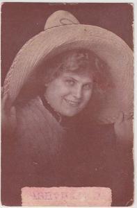 1911 ASHEVILLE Ohio Postcard WOMAN Big Hat Circleville Pickaway County A30