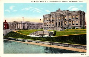 Iowa Des Moines The Des Moines River Showing Post Office and Library Curteich