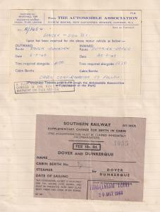 AA Automobile Association Dover Dunkirk 2x 1948 Ferry Travel Ticket s