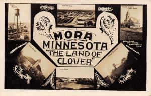 Mora Minnesota~Multi Mini View~Water Tower~Depot~Grain Elevator~School~1909 RPPC