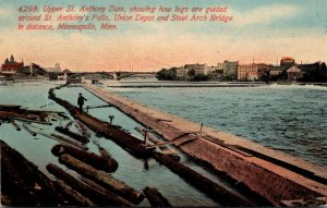 Minnesota Minneapolis Upper St Anthony Dam Showing Logs Guided Around St Anth...