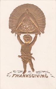 Thanksgivng, Boy holding up a wild turkey, gold detail, 00-10s