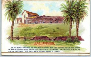 c1910s Advertising Postcard OLD MISSION Pure California OLIVE OIL San Diego
