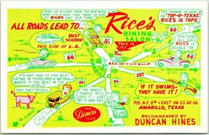 Amarillo, Texas ROUTE 66 Roadside Postcard RICE'S DINING SALON Restaurant / Map