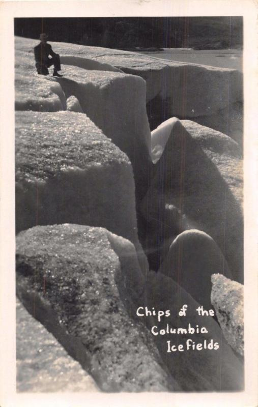 ALBERTA CANADA~CHIPS OF THE COLUMBIA ICEFIELDS~REAL PHOTO POSTCARD