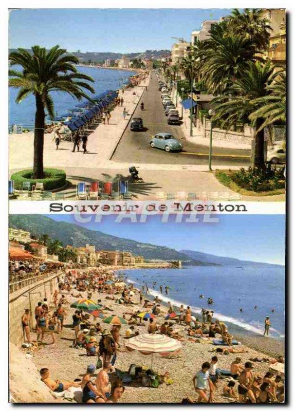 Postcard Moderne Menton Promenade and Beach