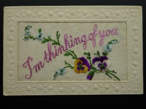 WW1 c1916 Embroidered Silk Postcard I'M THINKING OF YOU From Aubrey to Evelyn