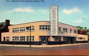 Ohio Dayton Greyhound Bus Terminal Curteich