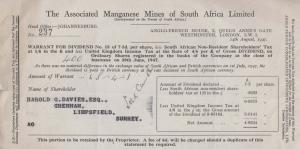 Johannesburg Mines South African Dividend Surrey Oil Company Letter Old Receipt