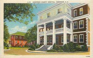 Anderson South Carolina~Anderson County Hospital~1940s Postcard