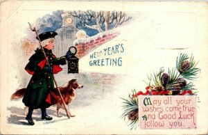 Postcard New Year's Greeting Collie Dog 1924 Pacific Grove California   971