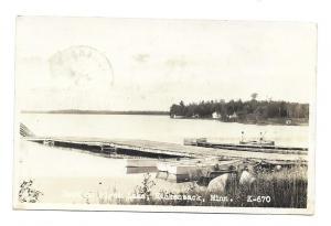 Dock on Birch Lake, Hackensack, Minnesota Real Photo 1931 to Huntington, Iowa