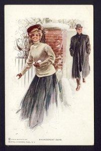 ENGAGEMENT DATE #103 R&N woman snowballs man,  HARRISON FISHER artist