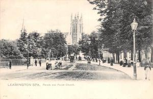 Leamington Spa Parade and Parish Church animated baby carts tram Warwickshire