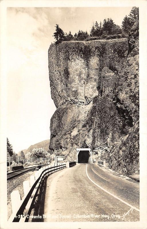 Columbia River Highway Oregon~Oneonta Bluff & Tunnel~Railroad Tracks~1949 RPPC