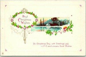 1910s Best CHRISTMAS Wishes Embossed Postcard Lake Scene STECHER 334B - UNUSED