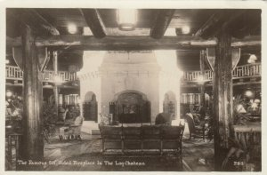 RP: Log Chateau , Quebec , 1931 ; Six sided Fireplace
