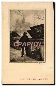 Old Postcard Notre Dame Paris booksellers