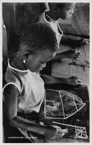 Ghana Gold Coast Kids Learning To Draw Postcard