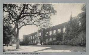 High School, Paso Robles, California, early postcard, Unused
