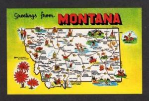 MT Greetings from MONTANA State Map Winnett Hysham Troy