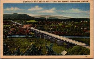 Shenandoah River Bridges North Front Royal Virginia 1953 Vintage RPPC Postcard