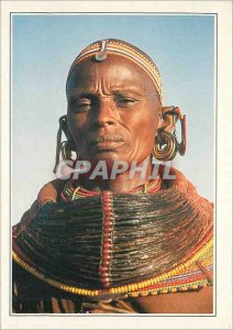 Postcard Modern Woman in Samburu tribal outfit in northern Kenya