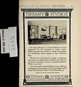 1913 Tiffany Studios Furniture Home Set Up Vintage Print Ad 5588
