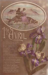 1er Avril April Fool's Day Couple Dining On Top Of Large Fish 1916